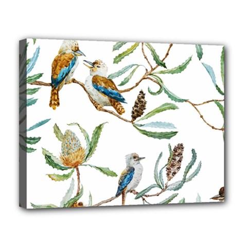 Australian Kookaburra Bird Pattern Canvas 14  X 11  by BangZart