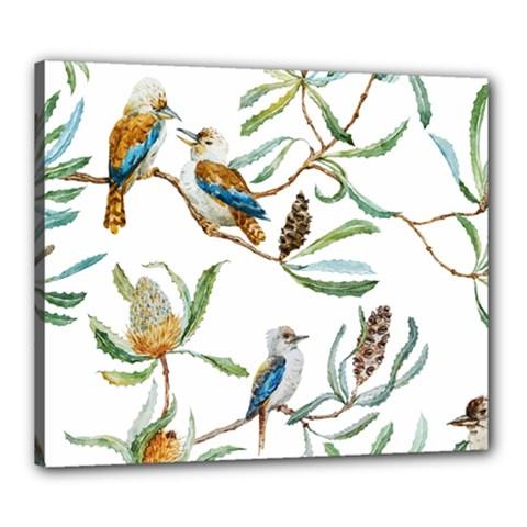 Australian Kookaburra Bird Pattern Canvas 24  X 20