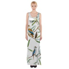 Australian Kookaburra Bird Pattern Maxi Thigh Split Dress