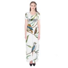 Australian Kookaburra Bird Pattern Short Sleeve Maxi Dress