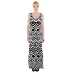 Aztec Design  Pattern Maxi Thigh Split Dress