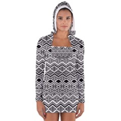Aztec Design  Pattern Long Sleeve Hooded T Shirt