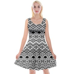 Aztec Design  Pattern Reversible Velvet Sleeveless Dress