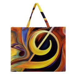 Art Oil Picture Music Nota Zipper Large Tote Bag by BangZart