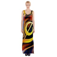 Art Oil Picture Music Nota Maxi Thigh Split Dress