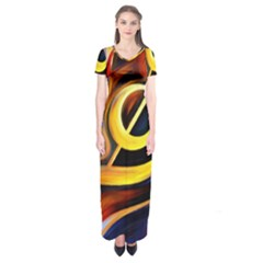 Art Oil Picture Music Nota Short Sleeve Maxi Dress
