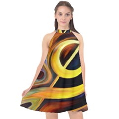 Art Oil Picture Music Nota Halter Neckline Chiffon Dress