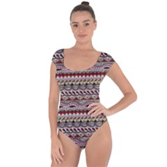 Aztec Pattern Art Short Sleeve Leotard