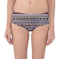 Aztec Pattern Art Mid Waist Bikini Bottoms