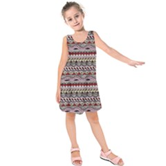 Aztec Pattern Art Kids  Sleeveless Dress