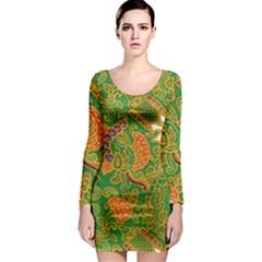 Art Batik The Traditional Fabric Long Sleeve Bodycon Dress