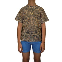 Art Indonesian Batik Kids  Short Sleeve Swimwear