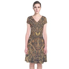 Art Indonesian Batik Short Sleeve Front Wrap Dress