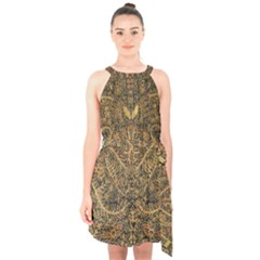 Art Indonesian Batik Halter Collar Waist Tie Chiffon Dress