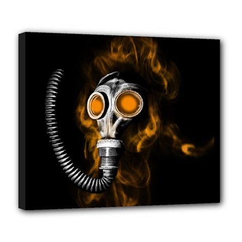 Gas Mask Deluxe Canvas 24  X 20   by Valentinaart
