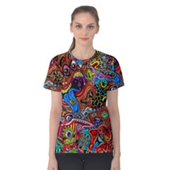 Art Color Dark Detail Monsters Psychedelic Women s Cotton Tee