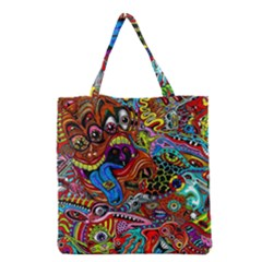 Art Color Dark Detail Monsters Psychedelic Grocery Tote Bag by BangZart