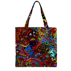 Art Color Dark Detail Monsters Psychedelic Zipper Grocery Tote Bag by BangZart
