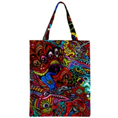 Art Color Dark Detail Monsters Psychedelic Zipper Classic Tote Bag by BangZart