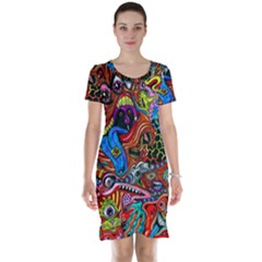 Art Color Dark Detail Monsters Psychedelic Short Sleeve Nightdress