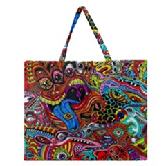 Art Color Dark Detail Monsters Psychedelic Zipper Large Tote Bag by BangZart
