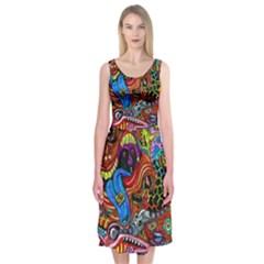 Art Color Dark Detail Monsters Psychedelic Midi Sleeveless Dress