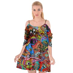 Art Color Dark Detail Monsters Psychedelic Cutout Spaghetti Strap Chiffon Dress