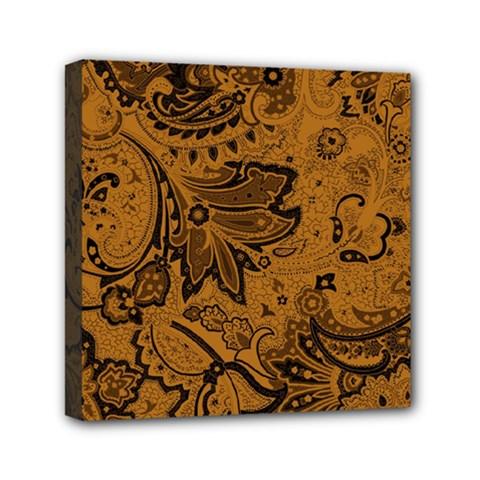 Art Traditional Batik Flower Pattern Mini Canvas 6  X 6  by BangZart