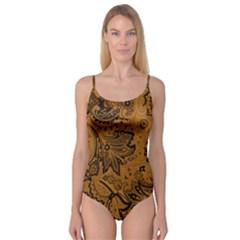 Art Traditional Batik Flower Pattern Camisole Leotard