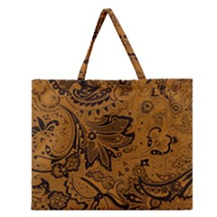 Art Traditional Batik Flower Pattern Zipper Large Tote Bag by BangZart