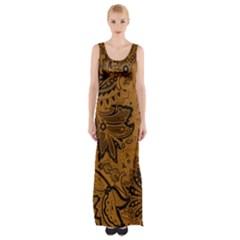 Art Traditional Batik Flower Pattern Maxi Thigh Split Dress