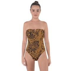 Art Traditional Batik Flower Pattern Tie Back One Piece Swimsuit by BangZart