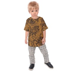 Art Traditional Batik Flower Pattern Kids Raglan Tee