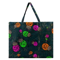 Abstract Bug Insect Pattern Zipper Large Tote Bag by BangZart