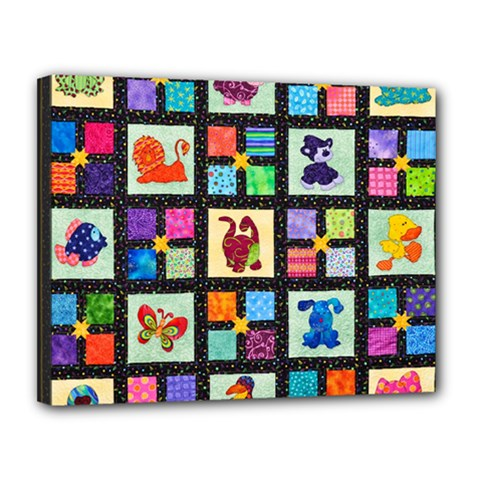 Animal Party Pattern Canvas 14  X 11