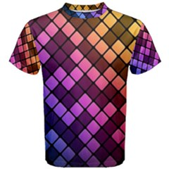 Abstract Small Block Pattern Men s Cotton Tee by BangZart