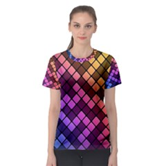 Abstract Small Block Pattern Women s Sport Mesh Tee