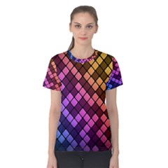 Abstract Small Block Pattern Women s Cotton Tee