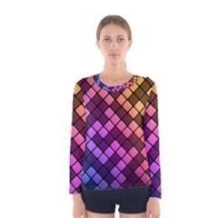 Abstract Small Block Pattern Women s Long Sleeve Tee