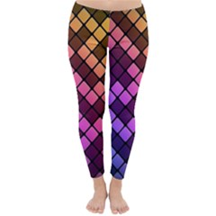 Abstract Small Block Pattern Classic Winter Leggings