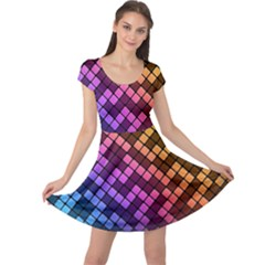 Abstract Small Block Pattern Cap Sleeve Dresses