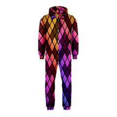 Abstract Small Block Pattern Hooded Jumpsuit (kids)