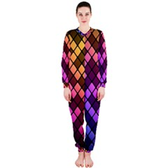 Abstract Small Block Pattern Onepiece Jumpsuit (ladies)
