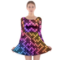 Abstract Small Block Pattern Long Sleeve Skater Dress