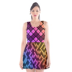 Abstract Small Block Pattern Scoop Neck Skater Dress
