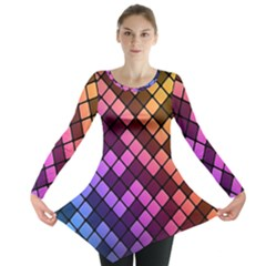 Abstract Small Block Pattern Long Sleeve Tunic