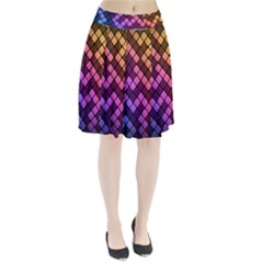 Abstract Small Block Pattern Pleated Skirt