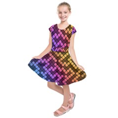 Abstract Small Block Pattern Kids  Short Sleeve Dress