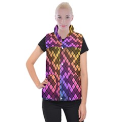 Abstract Small Block Pattern Women s Button Up Puffer Vest by BangZart
