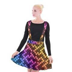 Abstract Small Block Pattern Suspender Skater Skirt by BangZart
